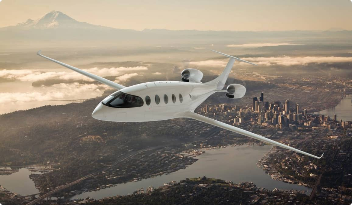 Aerial shot of electric powered jet
