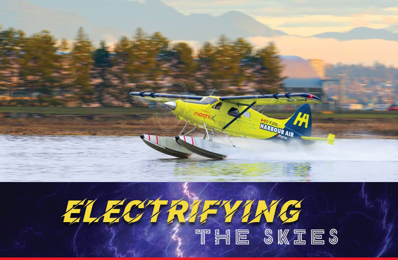 Electric powered seaplane lands on water