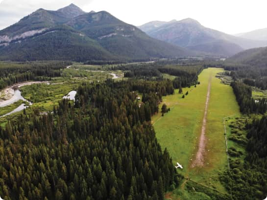 Aerial photo of backcountry landing strip